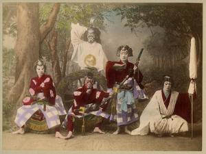 Japanese Kabuki Theatre with Actors Wearing Elaborate Make-Up and Costumes