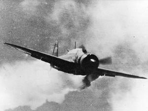 Japanese Kamikaze Plane Damaged by Gunfire Attempts to Crash on USS Wasp, 1940S