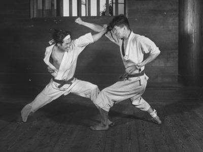 Japanese Karate Students Demonstrating Fighting