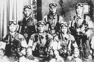 Japanese Kamikaze Pilots Holding Samurai Swords, 1944-45 by Japanese Photographer