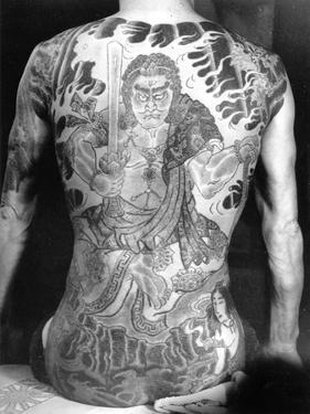 Man with Traditional Japanese Irezumi Tattoo, c.1910 by Japanese Photographer