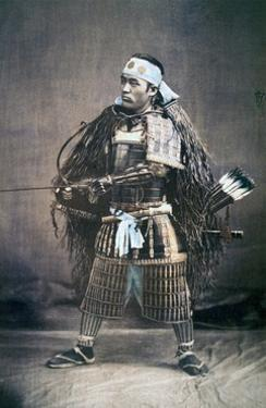 Japanese Samurai Warrior in Full Costume with Weapons, C.1880s