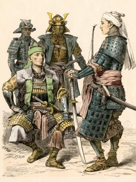 Japanese Samurai Warriors in Full Armor