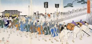 Samurai Warriors on the March (Colour Woodblock Print) by Japanese