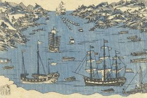 Bunkindo Print of Foreign Ships in the Port of Nagasaki, 1800-50 by Japanese School