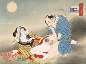 Couple Making Love in the Moonlight by Japanese School