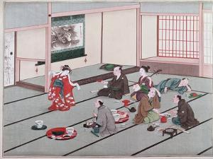 Japanese Eating, Drinking and Being Entertained in Teahouse by Japanese School