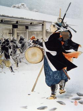 The 47 Ronin under the Leadership of Oishi Yoshio Destroying Kira's House by Japanese School