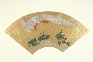 Unmounted Fan: Bird Diving onto Snow-Covered Bamboo, C.1700-60 by Japanese School