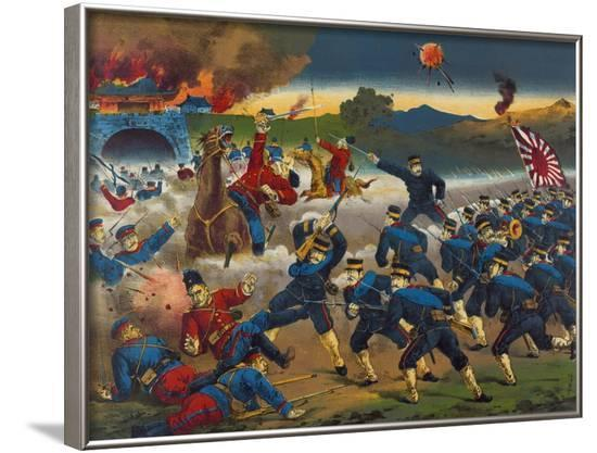 Japanese Soldiers Overrun Russians at Chin-Chou--Framed Art Print