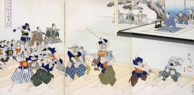 Warlord Watches Samurai Practising their Swordplay (Colour Woodblock Print)