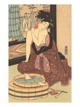 Japanese Woodblock, Lady at Bath