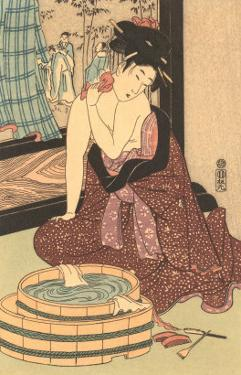 Japanese Woodblock, Lady at Bath