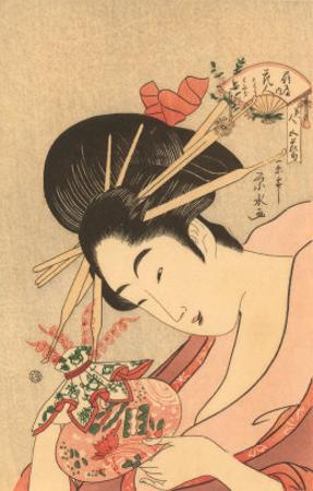 Japanese Woodblock, Lady with Curly Straws