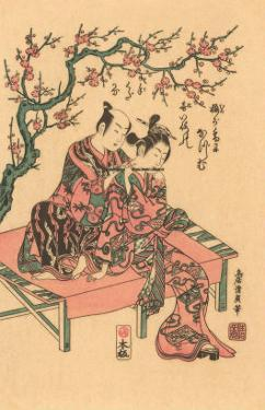 Japanese Woodblock, Man with Flute-Playing Geisha