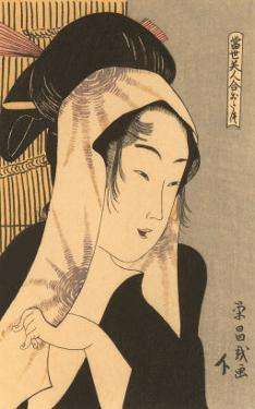 Japanese Woodblock, Woman with Scarf