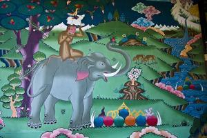 A Colorful Mural Depicts the Tale of the Four Harmonious Friends in a Temple by Jason Edwards