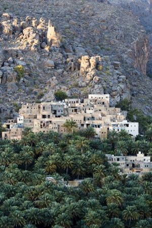 An Ancient Mud Brick Village on a Desert Gorge Mountainside Surrounded by Palm Trees