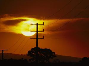 Electric Power Lines at Sunset in the Yaloum Valley by Jason Edwards