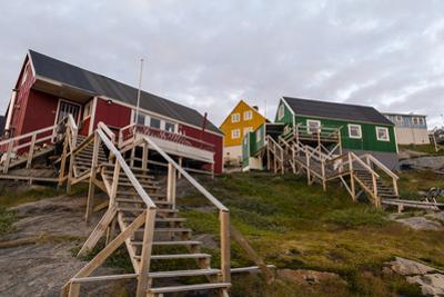 Stairs Lead to Cottages Perched on Rocky Outcrops in an Arctic Village