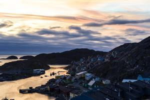 Sunset Falls over an Arctic Fishing Village on a Rugged Island by Jason Edwards
