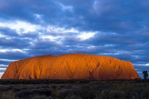 The Last Sunrays of Sunset Illuminate the Sandstone Massive of Uluru on the Desert Plain by Jason Edwards