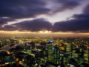 Winter Storm Clouds Roll in over the Melbourne Skyline at Night, Melbourne, Victoria, Australia by Jason Edwards