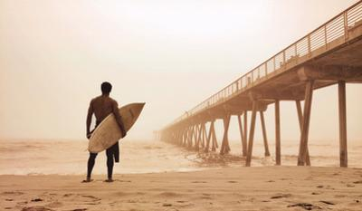 Jason Ellis In the Mist Surfer on Beach Art Print Poster