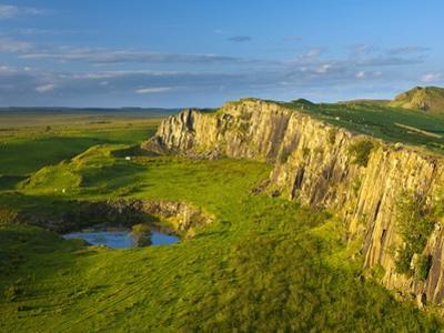 Walltown Crags and the route of Hadrian's Wall along the Great Whin Sill