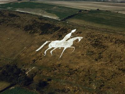 Aerial View of Man on Horse, Chalk Hillside Carving