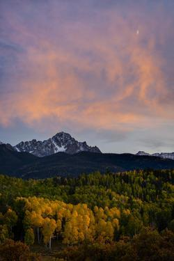 The Moon and Clouds at Sunset over Mt. Sneffels Near Ridgway, Colorado by Jason J. Hatfield