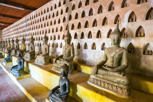 Buddha Statues Inside Wat Si Saket (Wat Sisaket) Temple, Vientiane, Laos, Indochina, Southeast Asia by Jason Langley