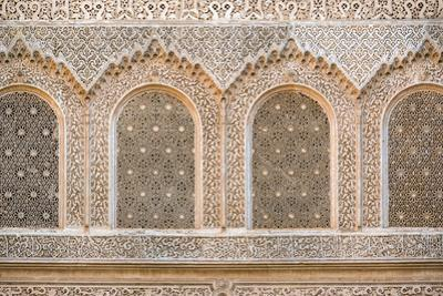 Carved plaster wall, Ben Youssef Madrasa, 16th century Islamic College, UNESCO World Heritage Site, by Jason Langley