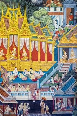 Colorful Painted Murals Depicting Scenes from Life of Buddha by Jason Langley