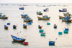 Fishing Boats in Harbor at Mui Ne, Phan Thiet, Binh Thuan Province, Vietnam, Indochina by Jason Langley