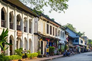French Colonial Style Buildings on Sakkaline Road in Luang Prabang Historic District by Jason Langley