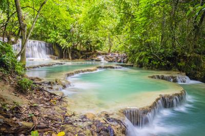 Kuang Si Falls (Tat Kuang Si) Waterfall, Louangphabang Province, Laos, Indochina, Southeast Asia by Jason Langley