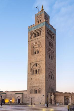 Minaret of the 12th century Koutoubia Mosque at dawn, UNESCO World Heritage Site, Marrakesh, Morocc by Jason Langley