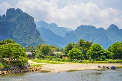 Nam Song River and Karst Landscape in Vang Vieng, Vientiane Province, Laos by Jason Langley