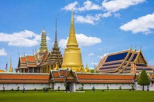 Spires and Stupas of Temple of the Emerald Buddha (Wat Phra Kaew), Grand Palace Complex, Bangkok by Jason Langley