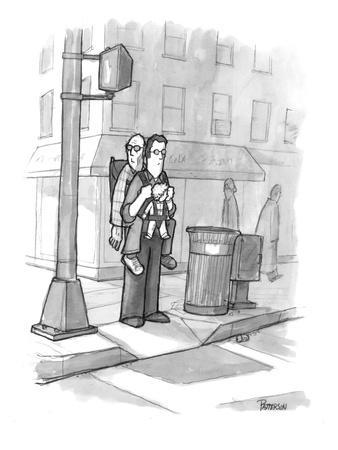 A man carries his grandfather and child in a baby backpack. - New Yorker Cartoon