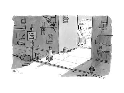 """A man passing an alley with a sign pointing to """"scenic area"""" with a valley... - New Yorker Cartoon"""