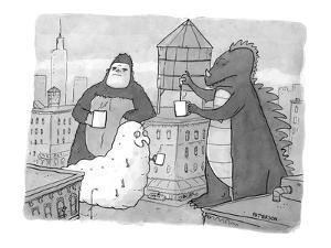 Godzilla, King Kong, and a giant worm gather around a water tower that is ? - New Yorker Cartoon by Jason Patterson
