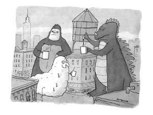 Godzilla, King Kong, and a giant worm gather around a water tower that is … - New Yorker Cartoon by Jason Patterson