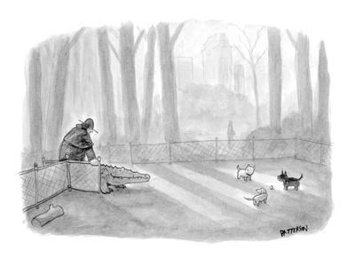 Man bringing alligator into dog park. - New Yorker Cartoon