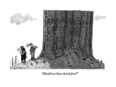 """""""Should we have lunch first?"""" - New Yorker Cartoon"""