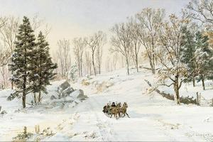 Winter on Ravensdale Road, Hastings-On-Hudson, New York, 1890 (Watercolor and Gouache on Paper) by Jasper Francis Cropsey