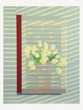 Flowers against the window shutter by Jasper Galloway