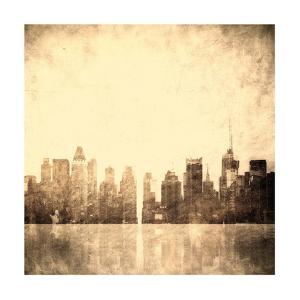 Grunge Image Of New York Skyline by javarman