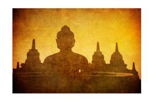 Vintage Image Of Buddha Statue At Borobudur Temple, Java, Indonesia by javarman